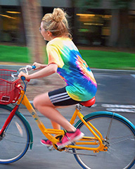 British actress, Hannah Snow on Google Bike at GooglePlex