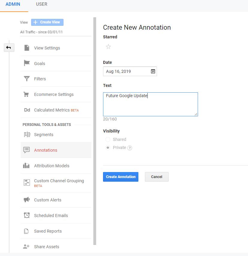 set up annotation for Google Analytics