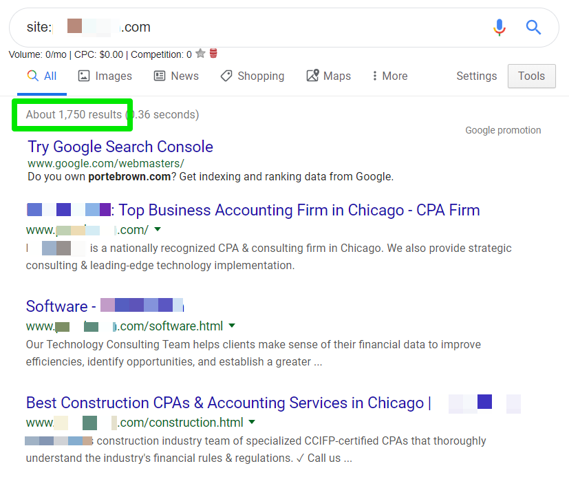screenshot example of using Google search results to recognize inefficient indexation