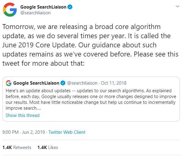 Twitter announcement from Google Search Liaison Team about core update