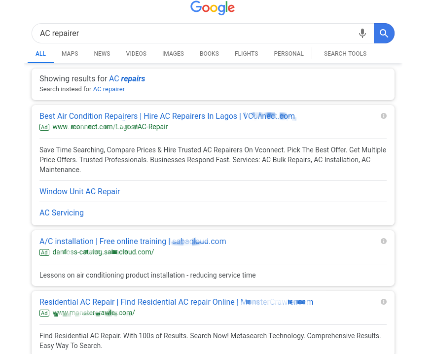 Example of using Google SERP to find relevant keywords for Amazon PPC management