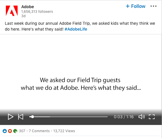 example of Adobe sharing a video on their linkedin