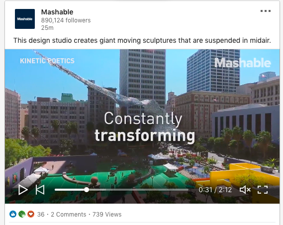 example of combining a video on their linkedin