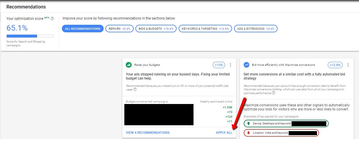 optiscore report under google recommendations