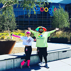 The 80s visit Google (PinkBeast and Peter The Greeter)