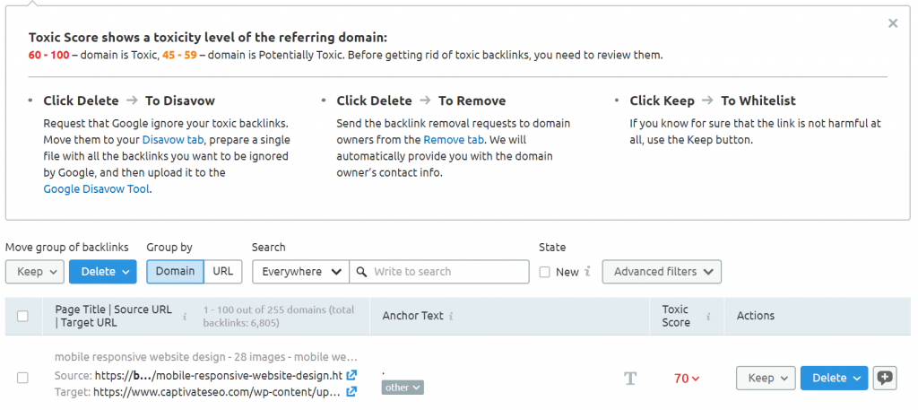 technical seo tool for checking for toxic links